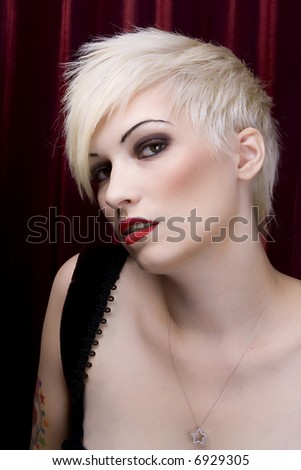 Blonde fashion model - stock photo