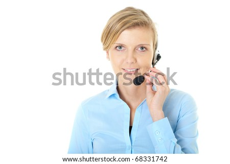 blonde female customer service operator, isolated on white