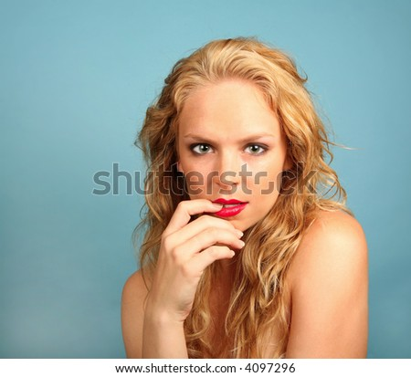 Blonde Female Looking Very Sexy and Glamorous - stock photo