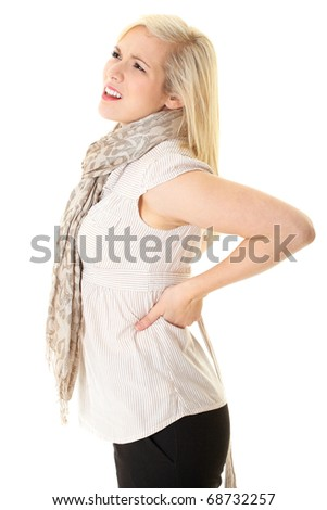 blonde female with backache, isolated on white - stock photo