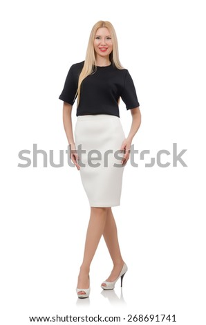 Blonde girl in black skirt isolated on white - stock photo