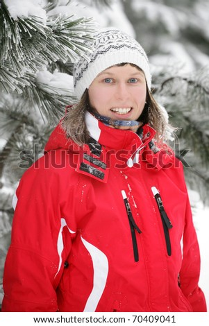 blonde girl in the snow - stock photo