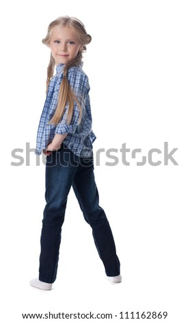 Blonde girl stand  - posing in studio isolated