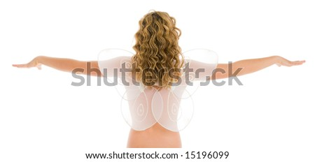 Blonde girl with angel wings and open arms