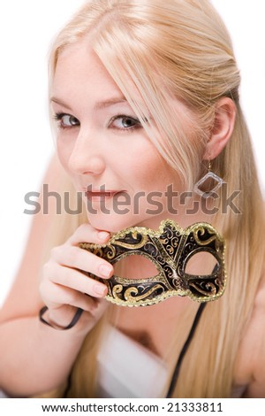 blonde girl with carnival mask