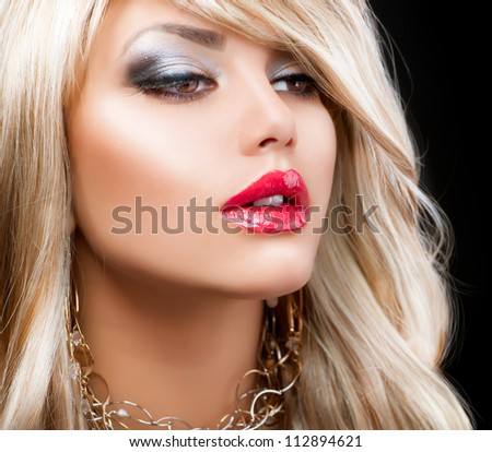 Blonde Hair. Fashion Woman Portrait. Blond Hair. Hairstyle - stock photo