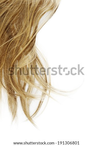 Blonde hair on white background - stock photo