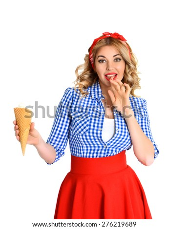 blonde in a scarf eating an ice cream - stock photo