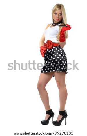 Blonde in black skirt and white blouse with red elements, isolated on white