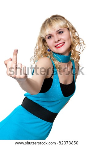 Blonde in blue clothes smiles shows middle finger up isolated on white - stock photo