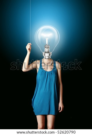 blonde in blue turn on the bulbhead - stock photo