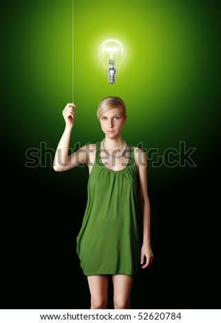 blonde in blue turn on the light - stock photo
