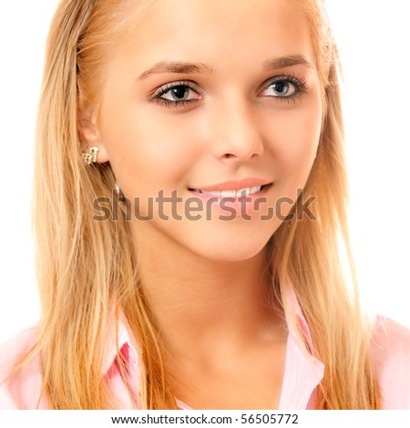 Blonde in pink shirt , on white background. - stock photo