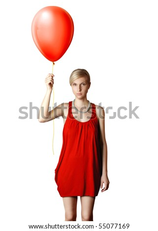 blonde in red dress with the balloon - stock photo