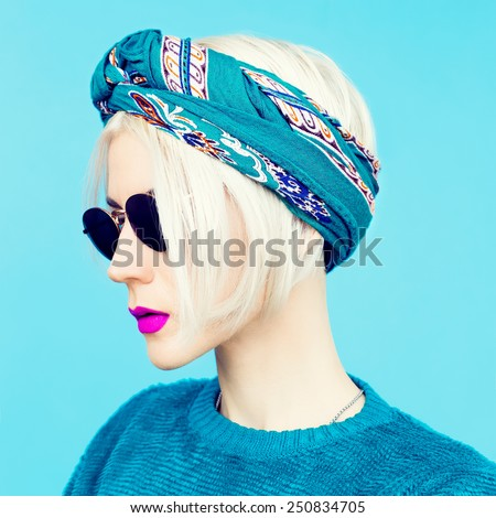Blonde in Scarf. Trendy fashion Accessory of the season - stock photo