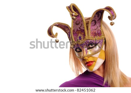Blonde in violet carnival mask, isolated on white - stock photo