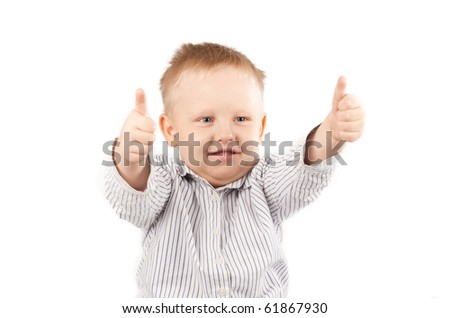 Blonde Little Boy Giving a Thumbs Up