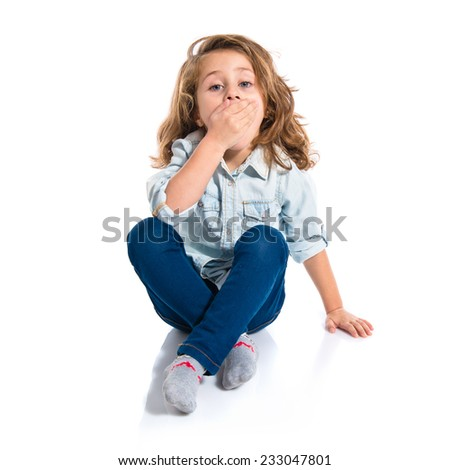 Blonde little girl doing surprise gesture  - stock photo