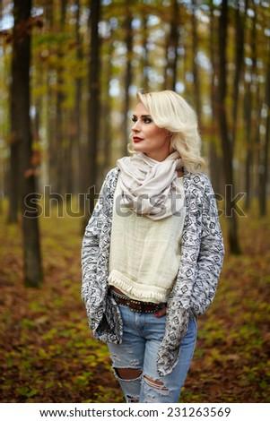 Blonde mature outdoors