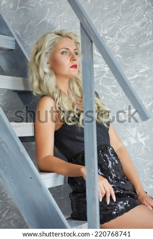 blonde on the stairs