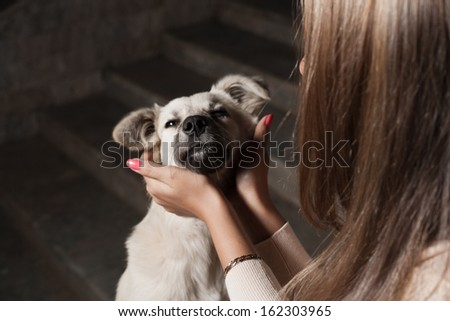 blonde outdoor with dog - stock photo
