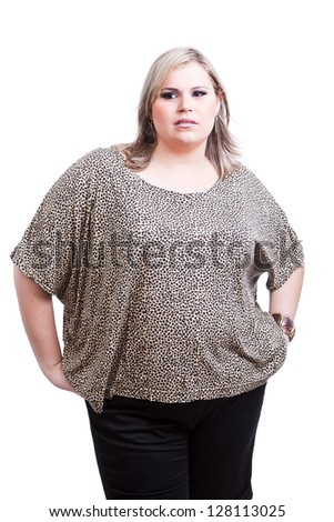Blonde Plus size woman, a model, posing for a fashion editorial. - stock photo