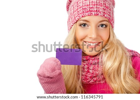 blonde smiling woman holding blank card over white background - stock photo