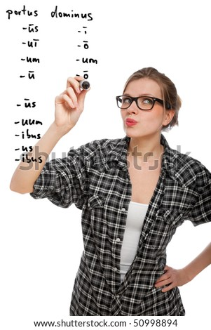 blonde student girl declinating two latin words in the air, isolated on white - stock photo