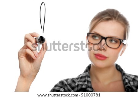 blonde student girl drawing an exclamation mark in the air, isolated on white - stock photo
