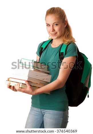 Blonde student with stack of books in chest and backpack, happy to get knowledge and learn new things.