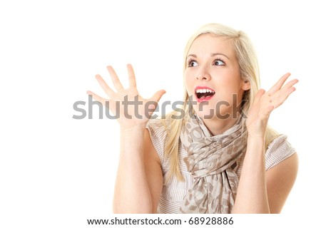 blonde surprised female makes huge eyes, isolated on white background - stock photo
