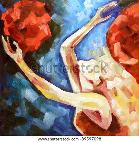 blonde the girl plays bright red colors against a blue clear sky drawn by oil paints a canvas - stock photo