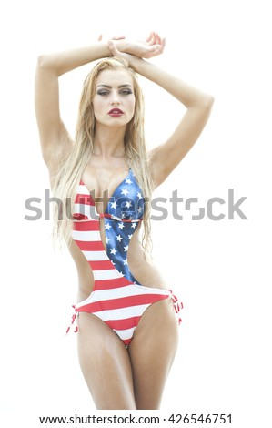 Blonde Wearing American Flag Swimsuit
