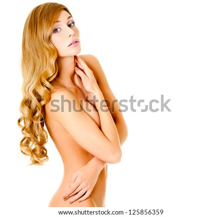 blonde with a beautiful figure and splendid hair - stock photo