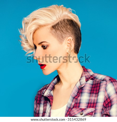 Blonde with fashionable Hairstyle and Accessories - stock photo