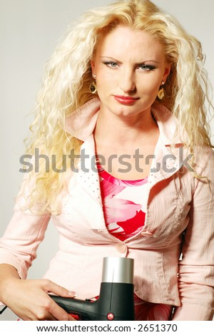 Blonde with hair-drier