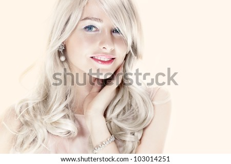 blonde with jewellery - stock photo
