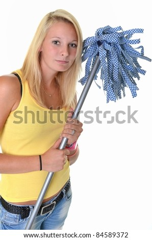 blonde with mop - stock photo
