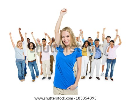 Blonde Woman And Group of Diverse Multi Ethnic Cheerful People Celebrating - stock photo