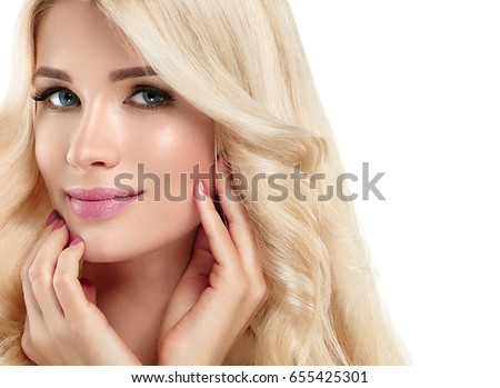 Blonde Woman Beautiful Portrait. Cosmetic concept, platinum Blond Hair Model Girl with manicure. Studio shot. Isolated on white.