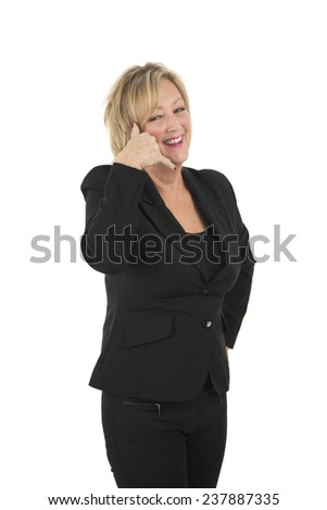 Blonde woman doing a telephone gesture with her hand against a white background - stock photo