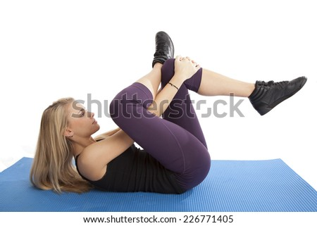 Blonde woman doing workout