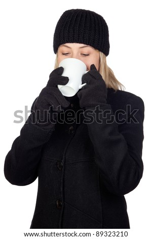 Blonde woman drinking something hot isolated on white background