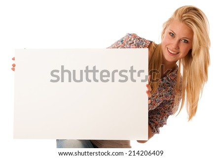 Blonde woman holding a blank white board in her hands for promotional text or banner isolated over white background - stock photo