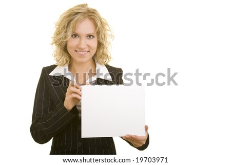 Blonde woman holding a white cardboard - stock photo
