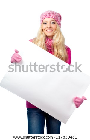 blonde woman holding blank white paper over white - stock photo