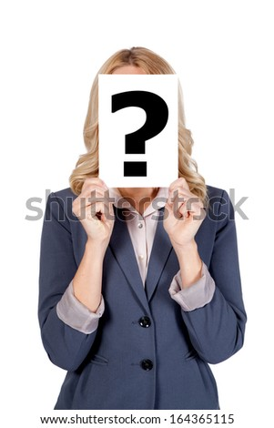 Blonde Woman holding Question Mark  - stock photo