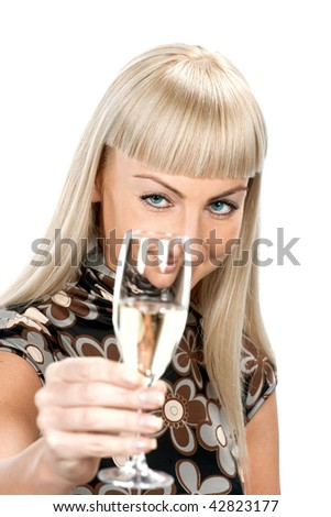 Blonde woman in flowered dress with glass of wine isolated