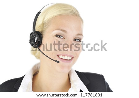blonde woman in headset and suit