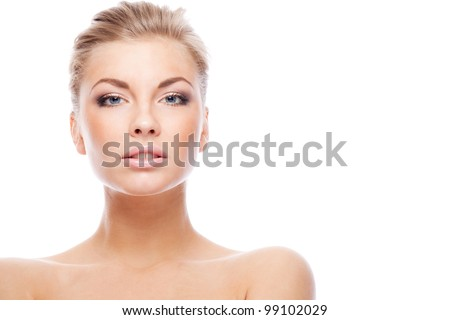 Blonde woman. Isolated over white. - stock photo